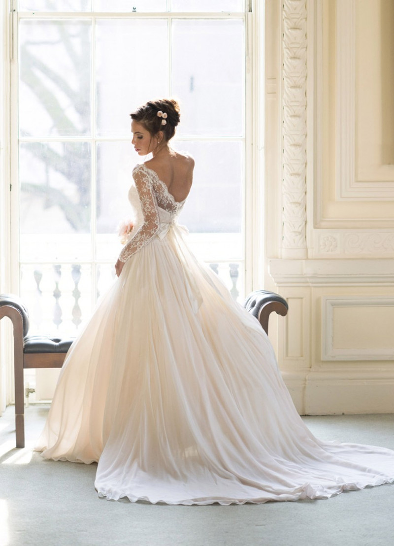 Vestidos De Noivas Boat Neck Lace Long Sleeve Chiffon Floor Length Wedding Dress Sexy Backless Bridal Gown Custom Made