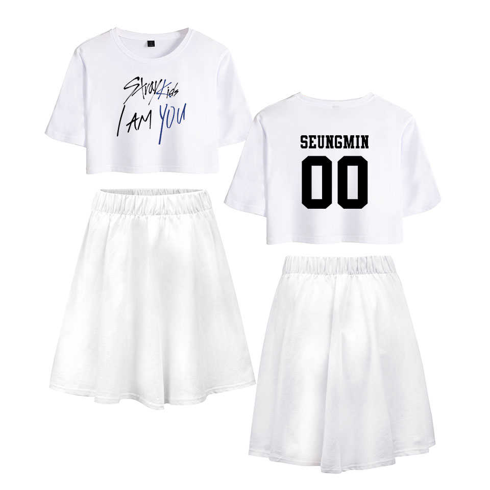 LUCKYFRIDAYF K-pop Summer Stray Kids I Am You Pop Short skirt suit Fashion Women's Dress Cool Soft Idol Print Clothing Plus 2XL