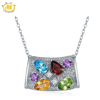 Hutang Natural Multi Color Gemstone Pendant Solid 925 Sterling Silver Necklace Citrine Garnet Fine Jewelry For