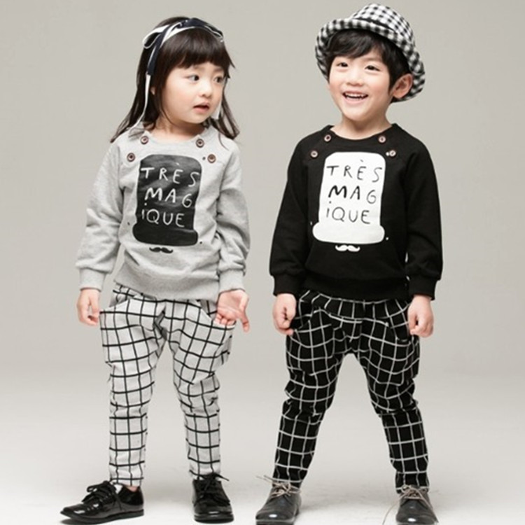 Children Clothes for Boys Girls Autumn Boys Clothes Girls Clothing Set Letter Plaid Casual T shirt+Pant Trousers Kids Clothes