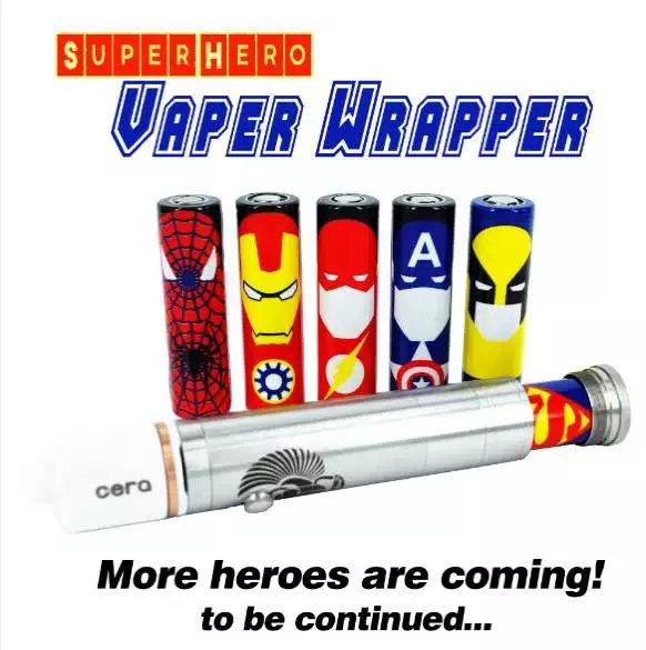 leiqidudu The 18650 <font><b>battery</b></font> protected <font><b>wrapper</b></font> super hero pattern skin <font><b>battery</b></font> sticker for e-cigarette <font><b>batteries</b></font>