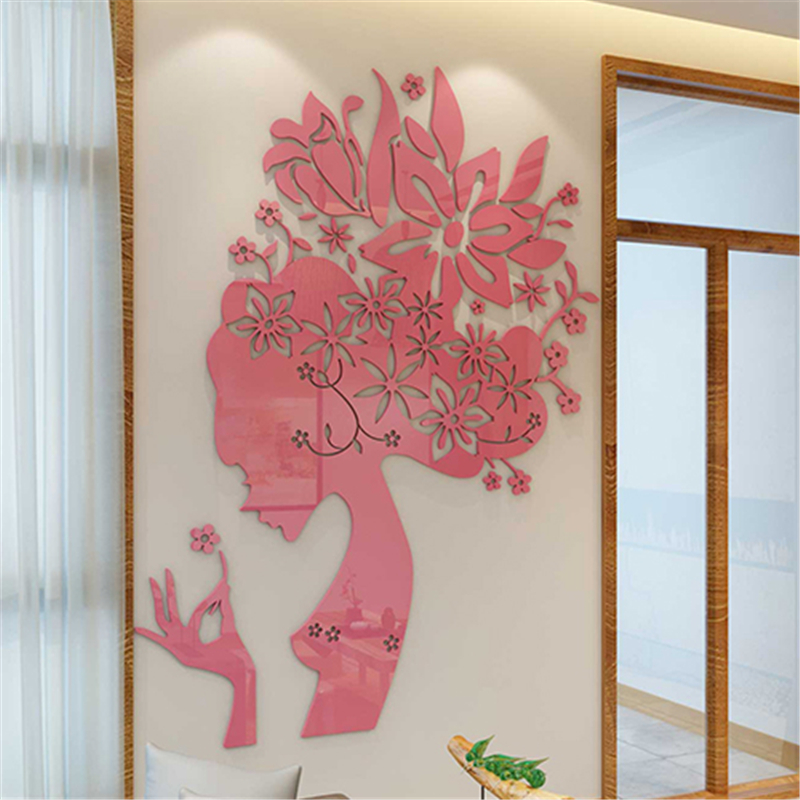 Creative DIY Princess flower girl 3D Sticker Acrylic Stereo Home decor wall stickers bedroom marriage room TV background decals
