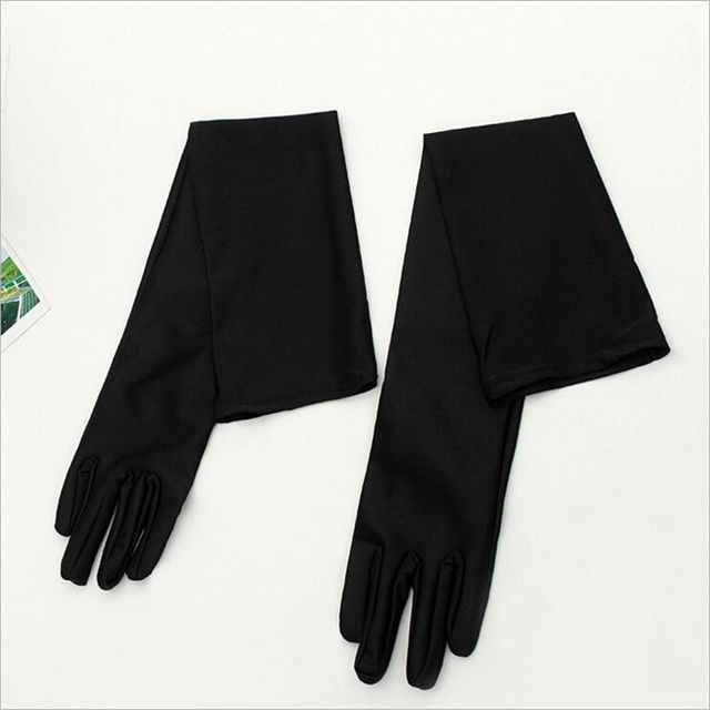 Classic Adult Black White Red Grey Skin Opera/Elbow/Wrist Stretch Satin Finger Long Gloves Women Flapper Gloves Matching Costume 2