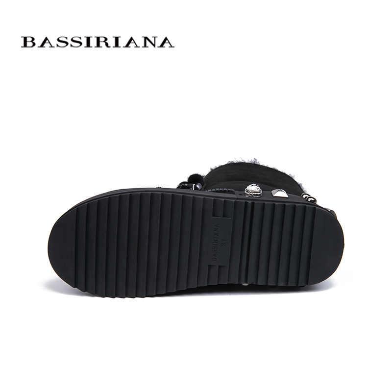 BASSIRIANA 2018 kış yeni koyun derisi süet sıcak kış kar botları kadın ayakkabısı renk pembe siyah gri boyutu 35-40