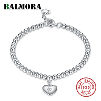 BALMORA 100 Real 925 Sterling Silver Bracelets For Women Lover Gift Heart With Zircon 16 3cm