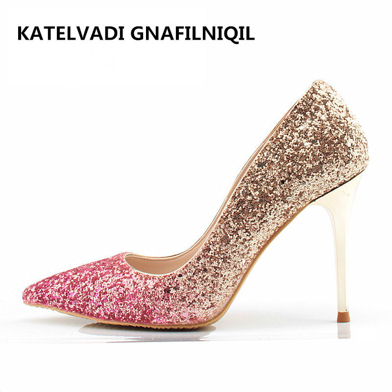 Brand Wedding Shoes Woman 10CM High Heels Comfortable Female Shoes Pointed Gold Glitter Women Shoes Bride Fashion Pumps FS-0111 baoyafang white red tassels women wedding shoes bride 12cm 14cm high heels platform shoes woman high pumps female shoes
