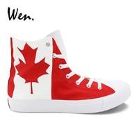 Wen Design Custom Canada Flag Maple Leaf Hand Painted Shoes High Top Mens Womens Canvas Skate