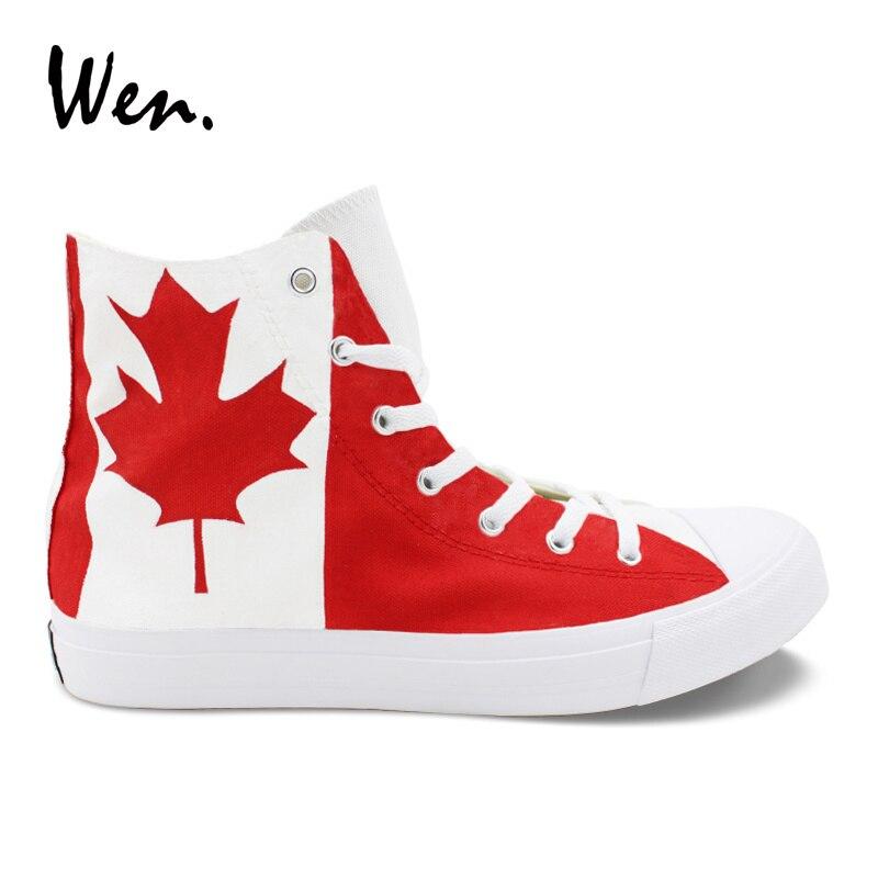 Wen Design personnalisé Canada drapeau feuille d'érable peint à la main chaussures haut hommes femmes toile Skate baskets Sport de plein air Plimsolls
