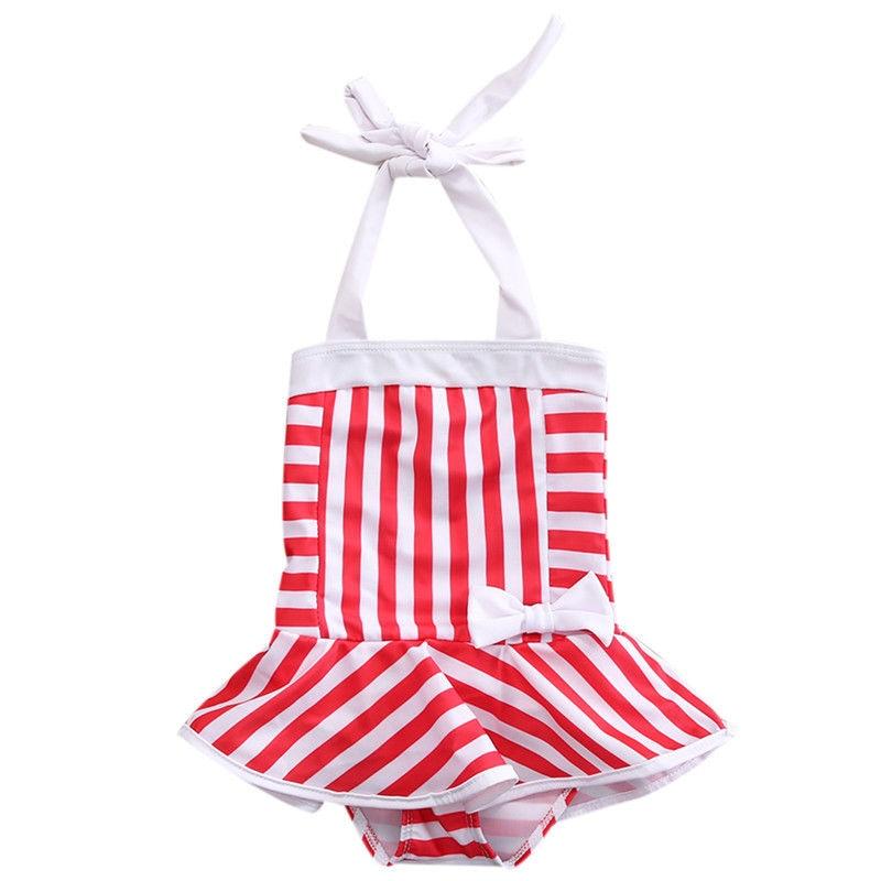 2017 Toddler Kid Swimsuit Ruffles Skirt One Piece Girls Swimsuit Bikini Swimwear Bathing Suit Striped Romper Sunsuit