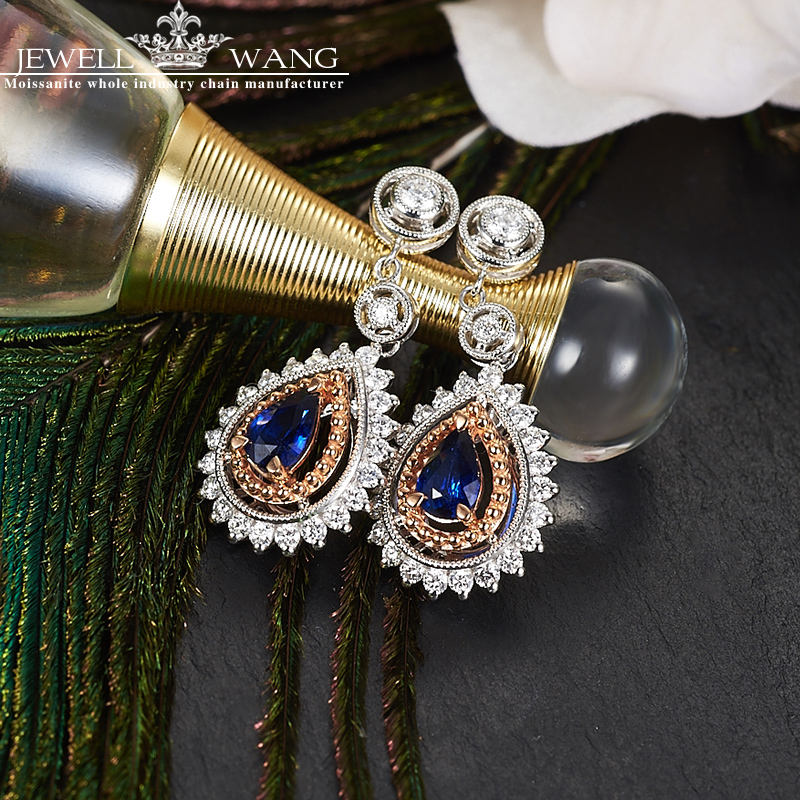 JEWELLWANG New Sapphire Drop Earrings 18K White Gold Natural Sapphire Earrings for Women Luxury Engagement Fine Jewelry Genuine