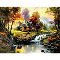 Diy Diamond Painting Cross Stitch Landscape Scenic Diamond Crystal Square Unfinished Full Diamond Embroidery Icon Houses