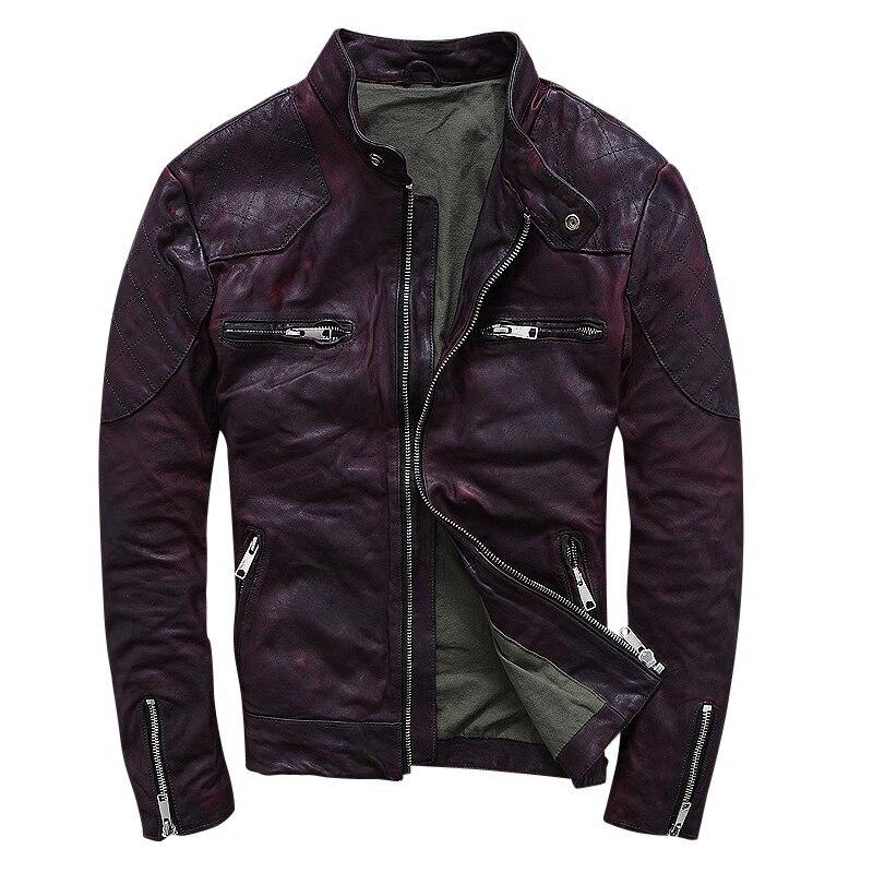 2019 Hommes Brun Slim Fit En Cuir Moto Veste Véritable qualité supérieure en peau de Mouton D'hiver Courte En Cuir manteau de moto LIVRAISON GRATUITE