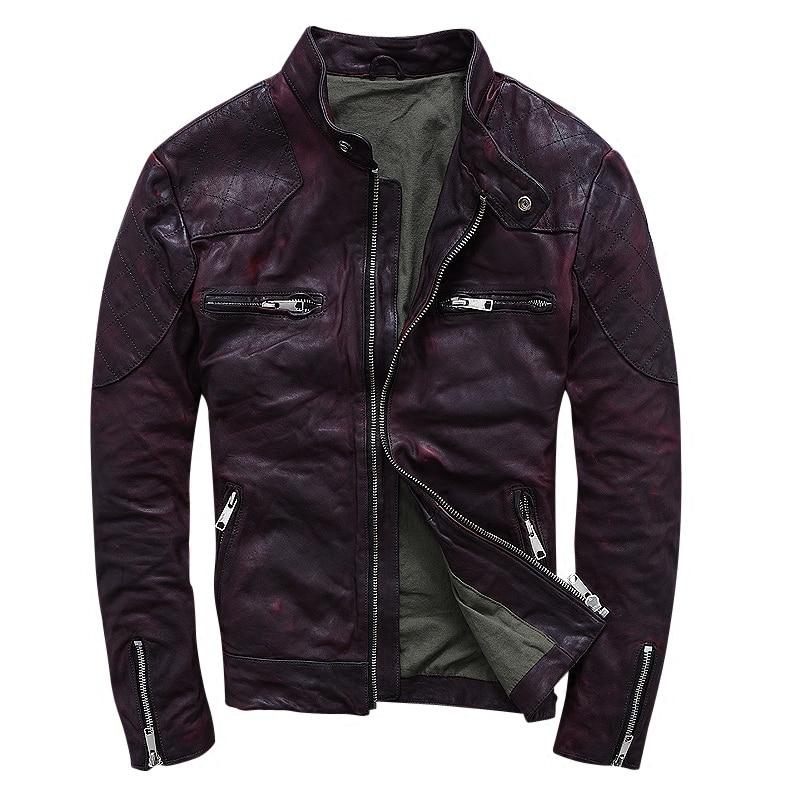 2019 Uomini Marrone Slim Fit Moto Giacca In Pelle Genuina di Alta Qualità di pelle di Pecora di Inverno Corto In Pelle Biker Cappotto LIBERO di TRASPORTO