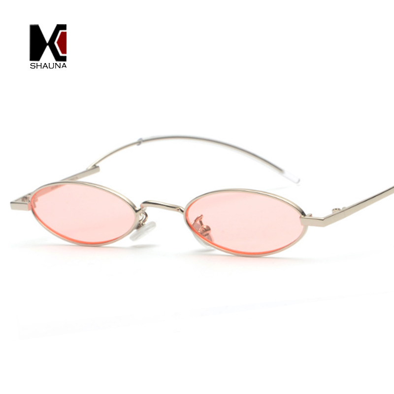 SHAUNA Fashion Little Oval Metal Frame Women Sunglasses Special Legs Men Candy Colors Lens Glasses UV400
