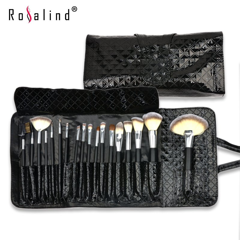 Rosalind Fashion 18 Pcs  Makeup Brushes Set Kit + Black Diamond Pattern Patent Leather Case Bag Free Shipping Beauty