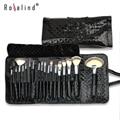 Rosalind Fashion 18 Pcs  Makeup Brushes Set Kit + Black Diamond Pattern Patent Leather Case Bag Free Shipping Beauty