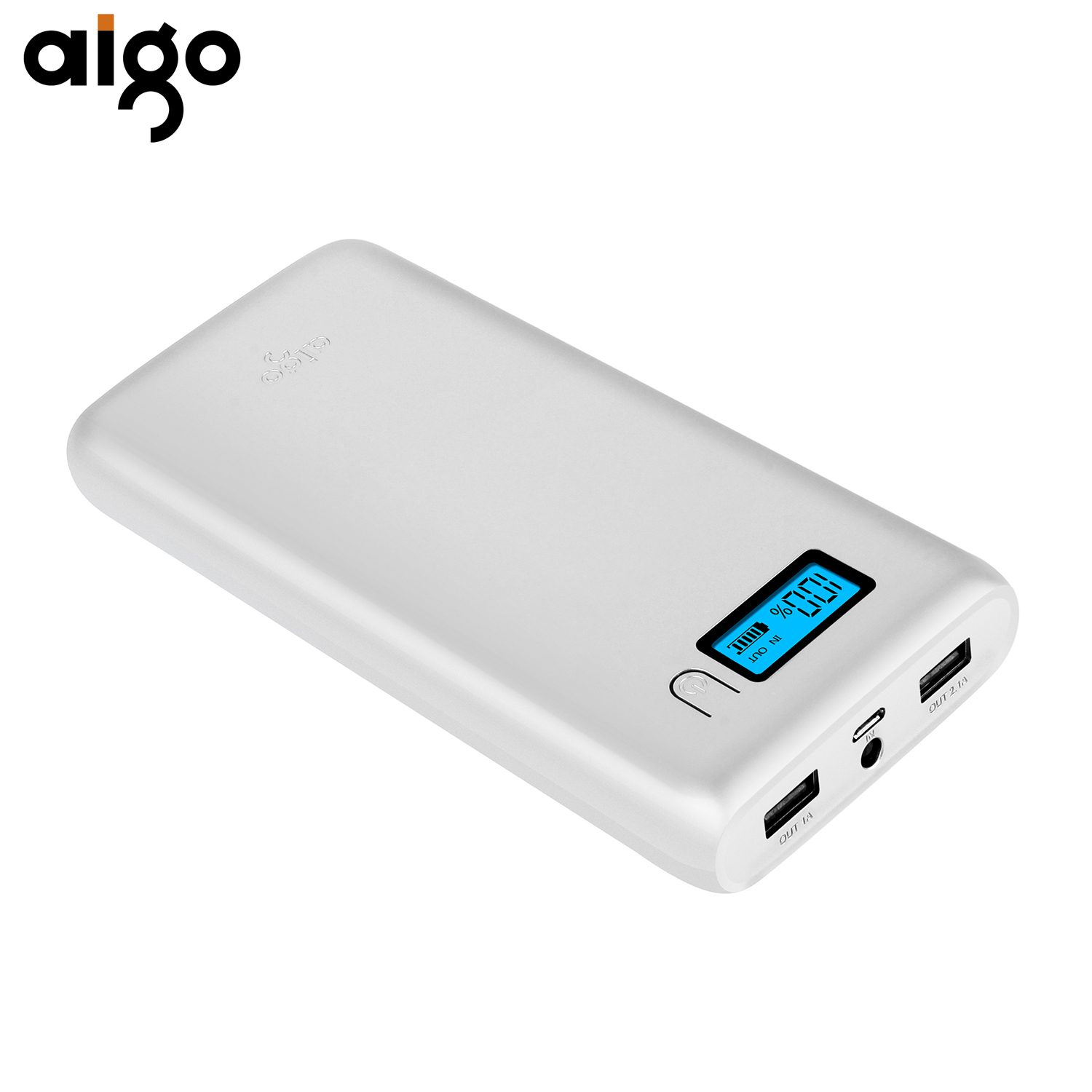 Aigo W20000 20000mAh Battery Charger Large Capacity Fast Charging Power Bank LCD External Backup Power Supply