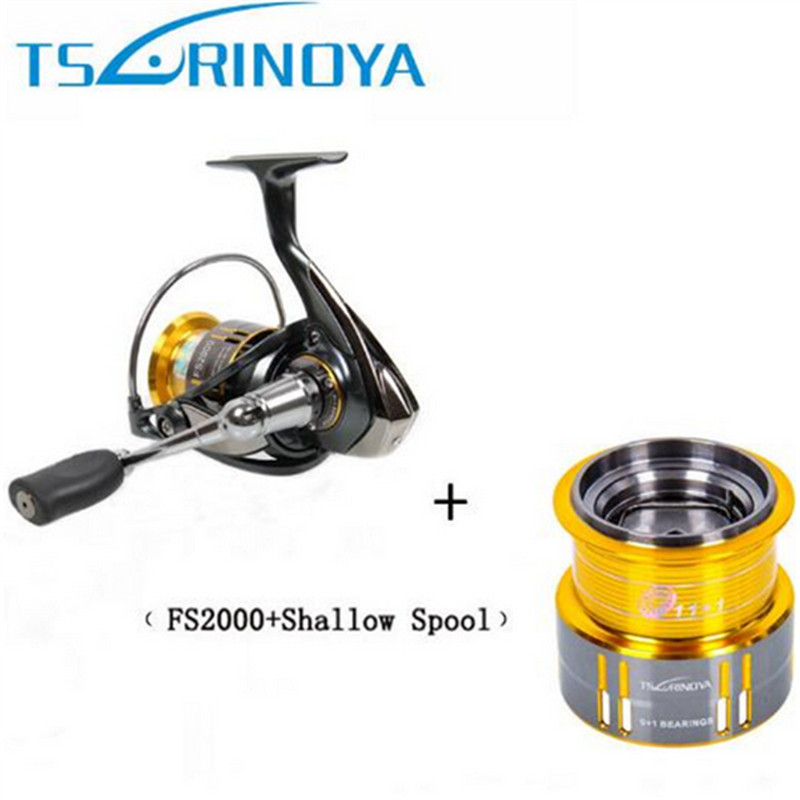 2017 Tsurinoya FS2000 Spinning Fishing Reel 9+1BB/ 5.2:1/5kg Metal Spool Screw in Handle with spare spool Molinete Para Pesca tsurinoya tsp3000 spinning fishing reel 11 1bb 5 2 1 full metal max drag 8kg jig ocean boat lure reels carretes pesca molinete