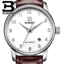 Швейцария часы мужские роскошные brand18K золотые Наручные Часы БИНГЕР бизнес Механические Наручные Часы кожаный ремешок B5005B-2