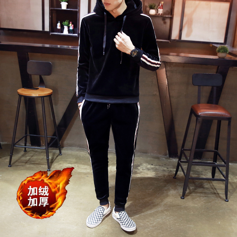2018 winter new suit mens fashion casual youth solid color two bar plus velvet thick com ...