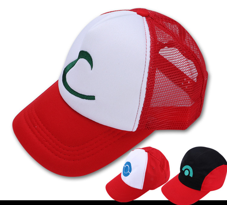 50pcs/lot Hot Sale New Fashion Boys and Girls Summer Casual Pokemon Hat 4 Designs Cute Cosplay Cap fashion handpainted palm sea sailing pattern hot summer jazz hat for boys