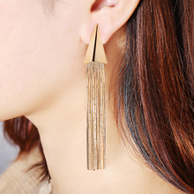цена на 2019 Fashion Triangle Gold Color Chain Long Tassel Dangle Earrings for Women Hyperbole Copper Long Tassel Drop Earrings Jewelry