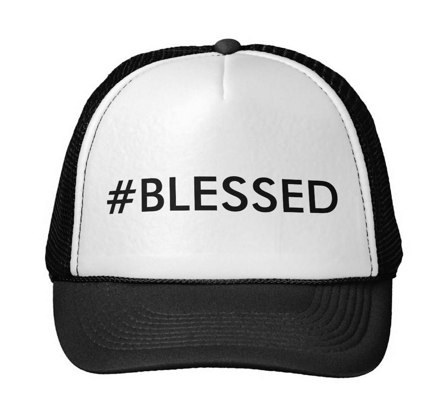 #blessed Letters Print Baseball Cap Trucker Hat For Women Men Unisex Mesh  Adjustable Size Black