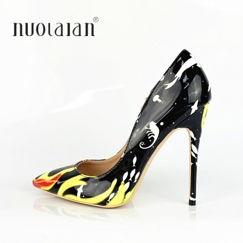 2019 Women Shoes Stiletto 12cm/10cm/8cm High Heels Women Pumps Flame Printed Patent Leather Pointed Toe Ladies Party Woman Shoes