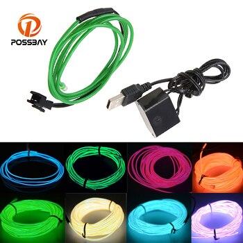 POSSBYA 3M 10 colores estilo de coche Flexible cables electroluminiscentes con luz de neón fiesta de baile de luz decorativa de EL de la cuerda de alambre de tira con controlador USB