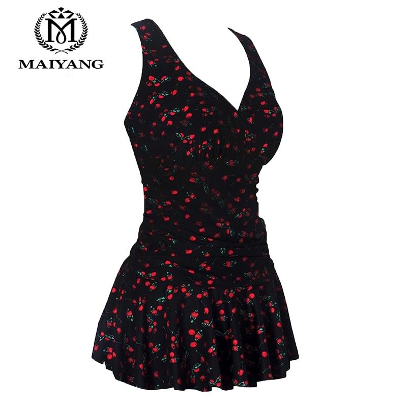 Black Plus-Size One Piece Swimwear Women Monokini Swimsuit Flower Printing Shaping Body Bathing Swim Suit Dresses Bodysuit 5119 plus size zigzag backless one piece swimsuit