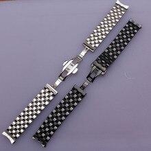 16 мм, 18 мм, 20 мм, 22 мм, 24 мм, высокое качество, серебристый ремешок для часов, черный металлический ремешок для часов, браслеты, общий изогнутый конец, плоские концы