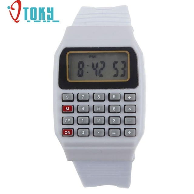 watch calculator and best quality Unsex Silicone Multi-Purpose Date Time Electro