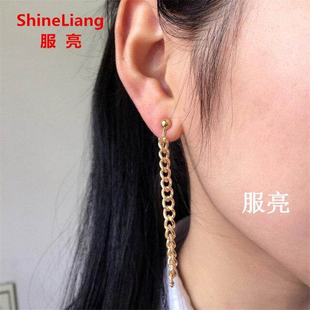 9a78bd5ebdf1 2018 nueva extremadamente simple cadena borla pendientes largos para las  mujeres moda joyería clip de oreja