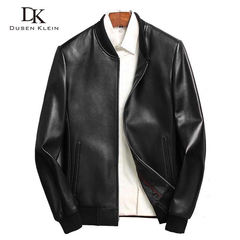 Férfi bőrkabát Fashion 2019 Dusen Klein valódi bőr kabátok Vékony / Alkalmi Luxus férfi bőrruházat Juhászbőr I6086