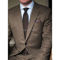 2018 New Custom Made Brown Tweed Suits Men Formal Skinny Wedding Tuxedo Gentlemen Modern Blazer 2 Piece Men Suits Wedding Groom