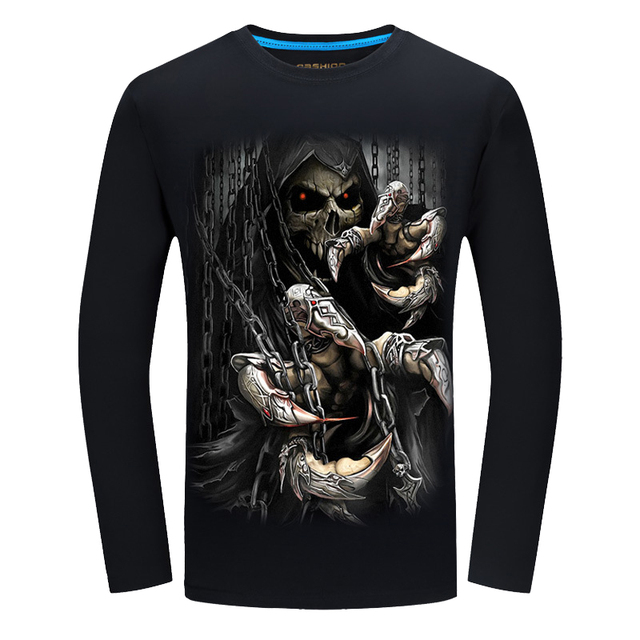 4c4e4c927d4 New Autumn Style Skull Print T-shirt Men 3D shirt Funny tshirts long Sleeve  Casual shirt Plus Size Tops Male Tee Brand Design