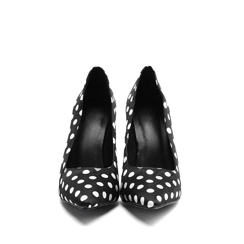 Noir Grand Talons Femme Taille Polka 36 Pointu Mode Glissement Sur Peu Chaussures De Hauts Dames 47 Femmes Pompes Bout Profonde Kcenid Soirée Dots A35Rq4jL