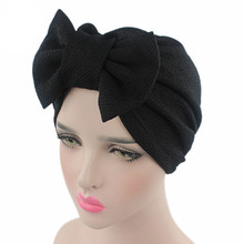 Muslim Women Cotton Elastic Bowknot Ruffle Turban Hat Chemo Beanies Cap Bandanas Headwear Headwrap Cancer Hair Loss Accessories