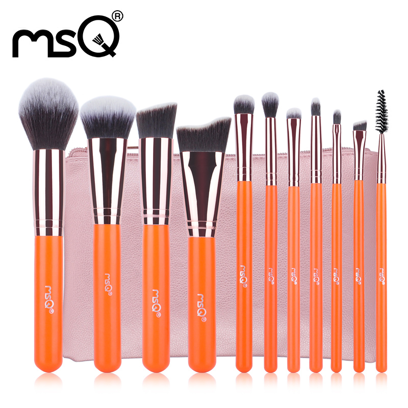 MSQ 11pcs Professional Orange Wood Handle Makeup Brushes Set Cosmetics blending brushes Artificial fiber makeup brush Tool kit 5pcs set metal handle makeup brushes set cosmetics brushes blending makeup brush