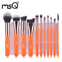 MSQ Marke 11 stücke Make-Up Pinsel Set Stiftung Lidschatten Lippenstifte Pulver brochas Bilden Pinsel Mit Rosa Tasche pincel maquiagem