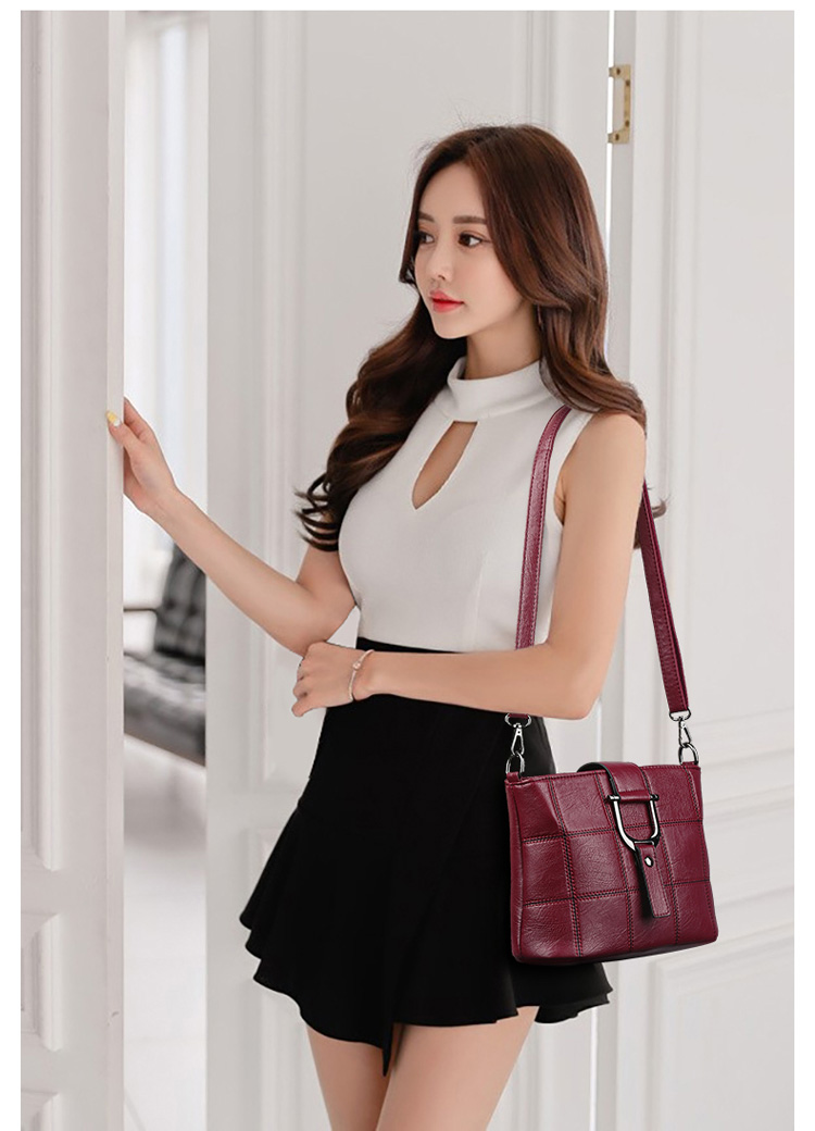 Women Quality Leather Plaid Pattern Handbag 26