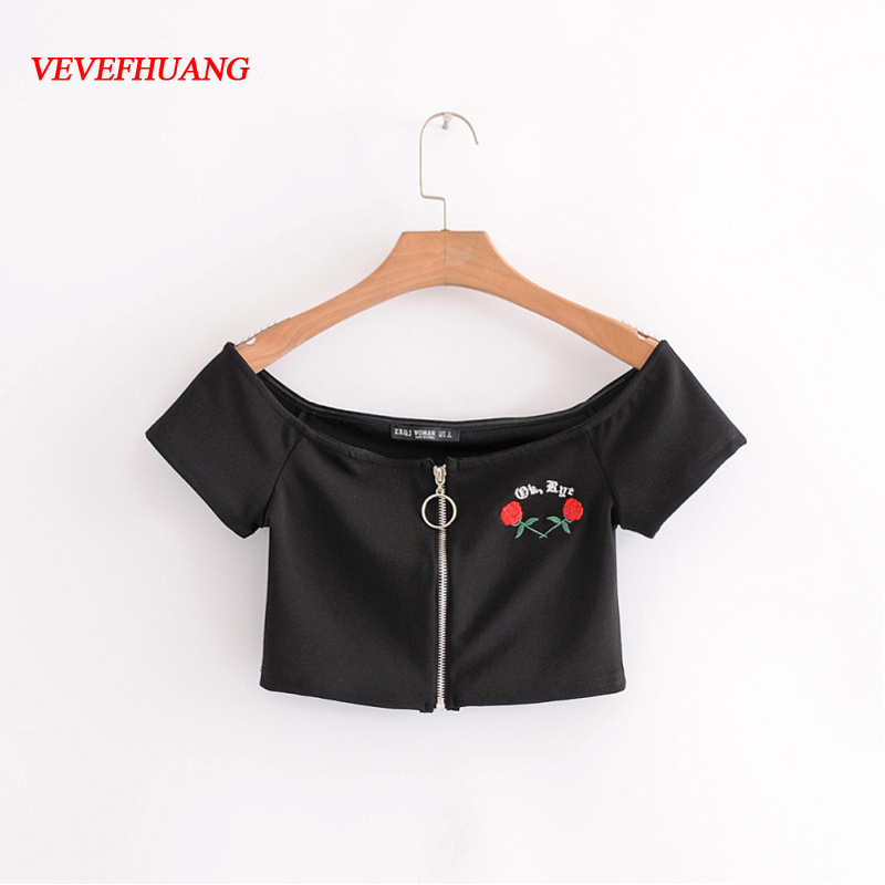 Floral Print Off Shoulder T-shirt Women Crop Tops Summer Short Sleeves Female Sexy Women Embroidery Elegant Tee Shirt Vestidos