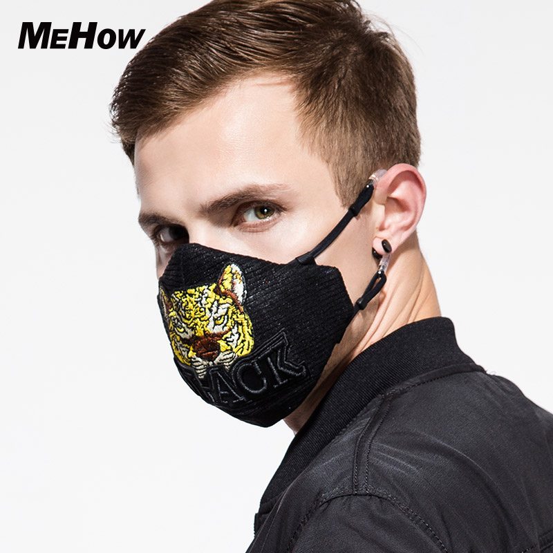 MeHow Silk Fabric Cloth Tiger TypeMask PM2.5 Anti-dust Haze Six-layer Silicone Composite Nose Filter Core Halloween Face Mask 50pcs high quality dust fog haze oversized breathing valve loop tape anti dust face surgical masks