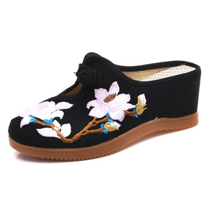 Image 2 - Veowalk Flower Embroidered Women Canvas Mules Wedge Slippers Slip on Close Toe Elegant Ladies Casual Summer Cotton Heeled Shoes