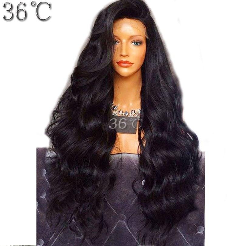 Плотность 250% полный Кружево Человеческие волосы парик для черный Для женщин Средства ухода за кожей волна естественный Цвет бразильский де...