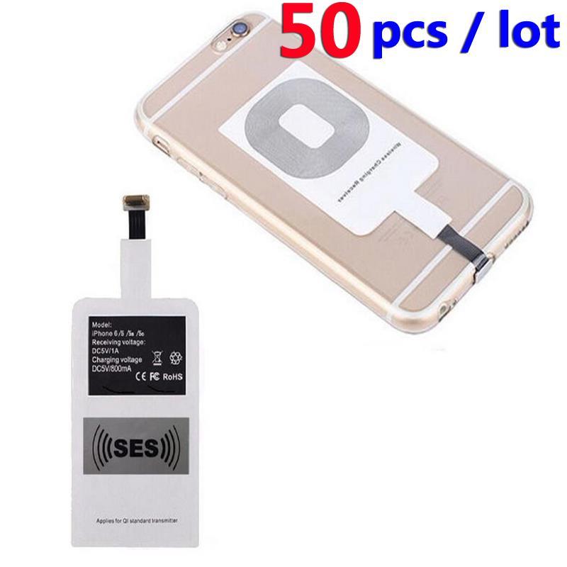 50 ШТ. Ци Приемник Зарядное Беспроводной Зарядки Адаптер Рецепторов Зарядки Pad Приемник Чип для iphone 6 6 s 5 5S 5c