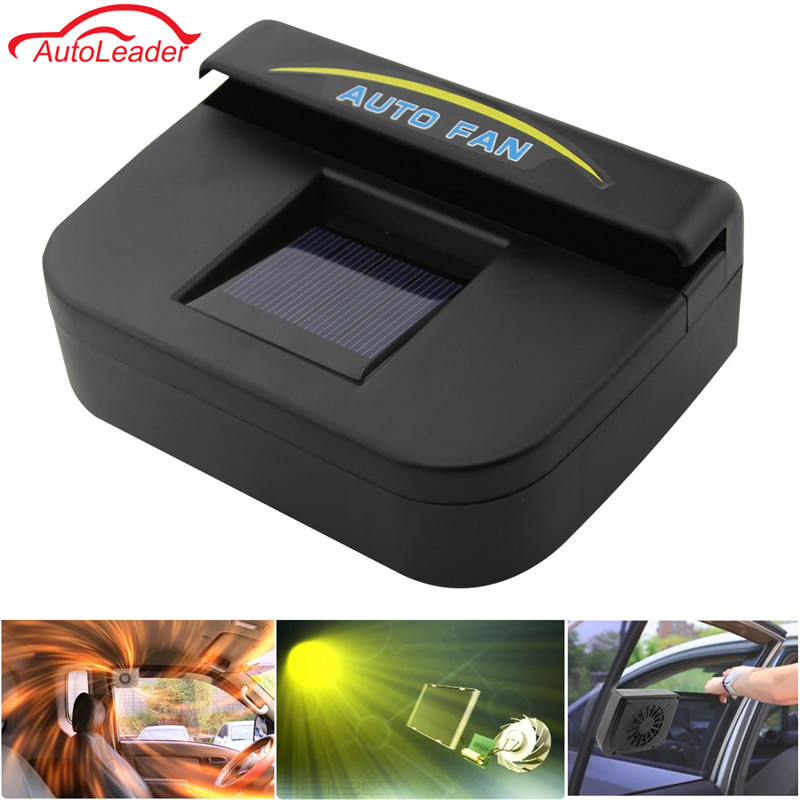 Solar Sun Power Car Auto Fan Air Vehicle Vent Cool Cooler Ventilation System Radiator Fit for Fits Car Window Black