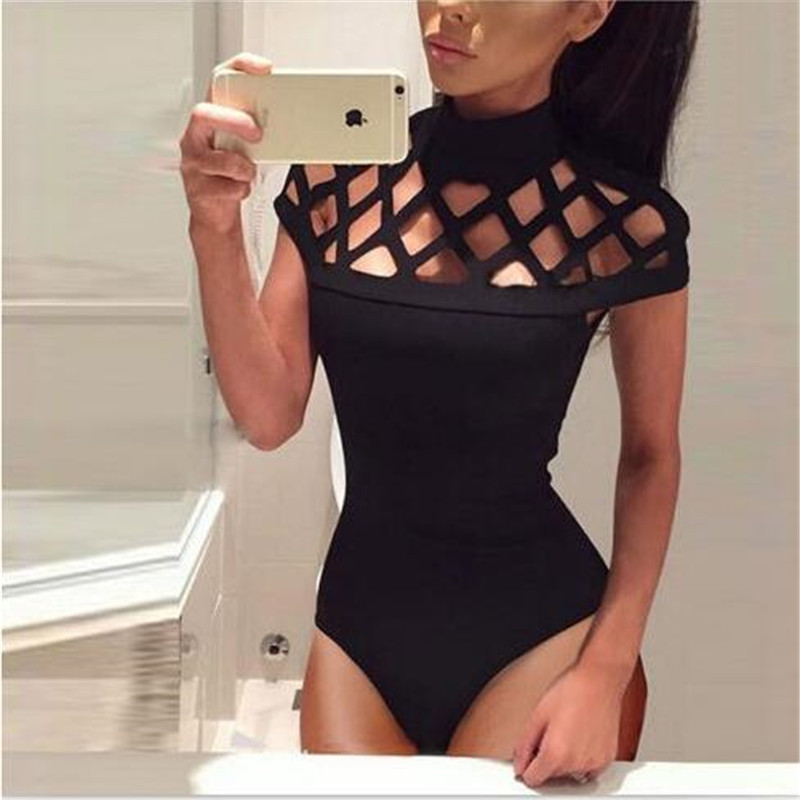 2019 New Summer Solid Color Sexy Women Bodysuits Short Sleeve O-Neck Hollow Out Rompers Ladies Casual Plus Size 2XL   Jumpsuits