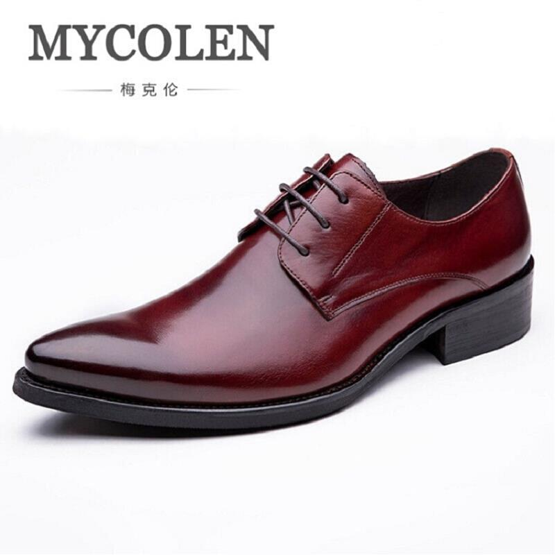 MYCOLEN 2017 Autumn Winter Men's Leather Shoes Fashion Comfort Business Men Shoes Solid Red Brown Lace Up Mens Formal Shoes top fashion shoes men mens canvas shoe chaussure homme leather business breathable spring autumn solid medium b m flat lace up