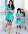 2017 Nueva Primavera y Verano Estilo de Madre e Hija de La Familia Ropa Trajes A Juego Lindo Sport Camiseta de Manga Corta + Pantalones 1 Unidades